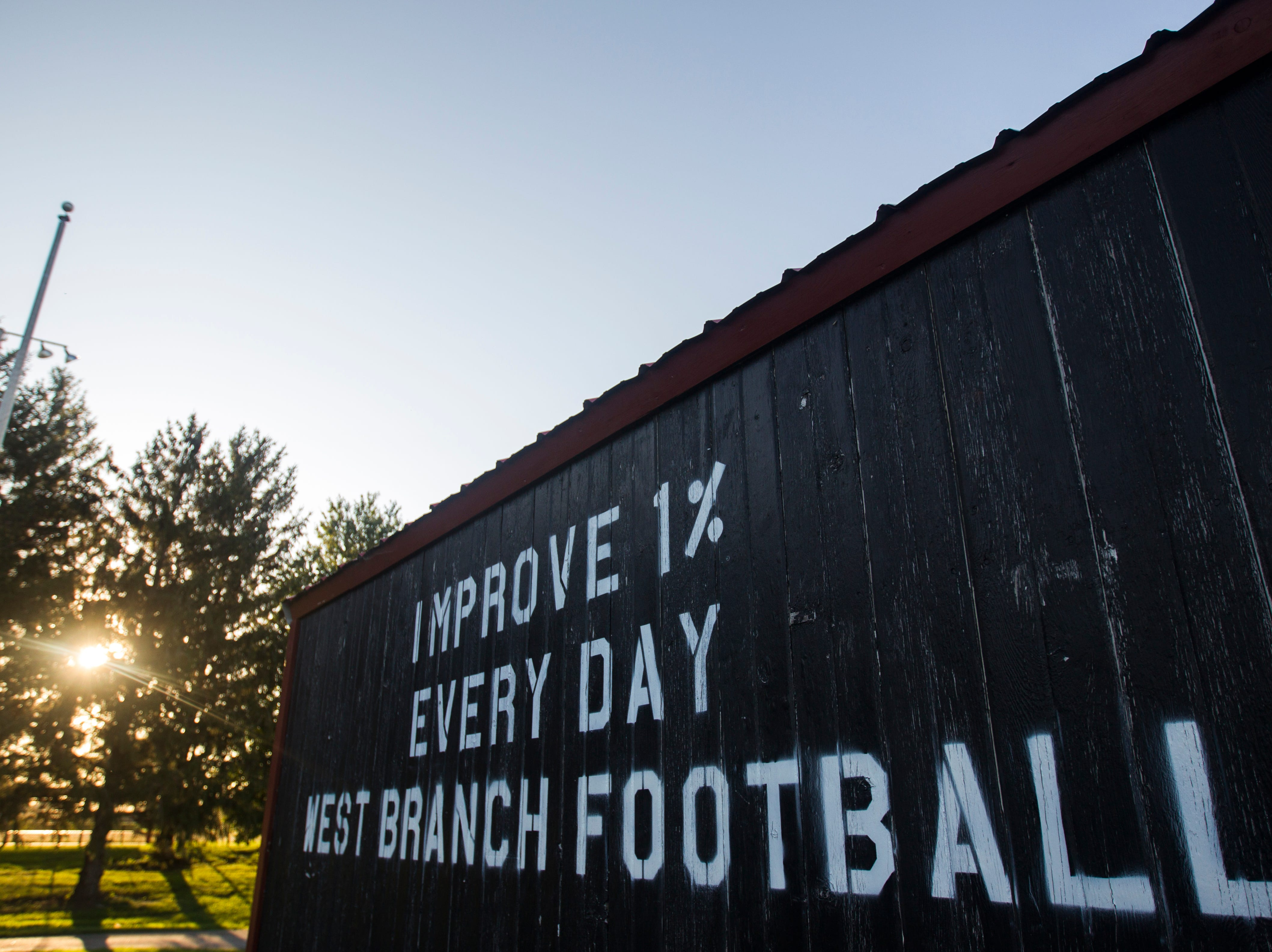 A storage shed adjacent to West Branch's practice field is seen during a varsity football practice on Tuesday, Sept. 11, 2018, at West Branch High School.
