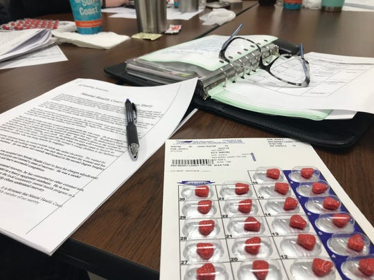 Each participant in this CIT program is given a fake pill pack. They must take four pills each day at certain times for the duration of the training, emulating a medication schedule of someone with mental health issues.