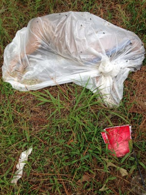 A dead dog in a plastic bag was found on the corner of E. Chester Street and Hillcrest Circle Wednesday morning.