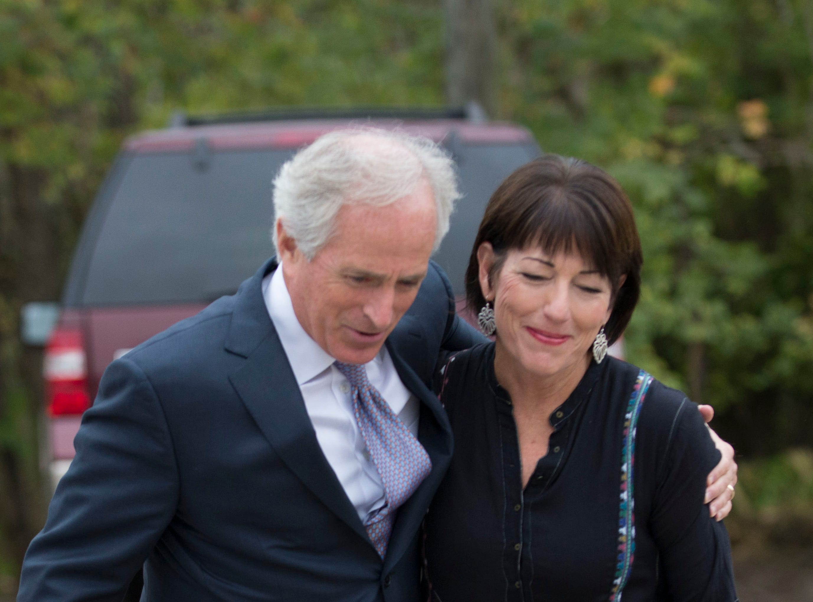 U.S. Sen. Bob Corker is greeted by Legacy Parks Foundation Executive Director Carol Evans as he arrives for the Luncheon for the Parks fundraiser Wednesday, Nov. 5, 2014, in South Knoxville. Nearly 800 community and business leaders gathered at the entrance to the Urban Wilderness to celebrate and support the accomplishments of Legacy Parks Foundation.