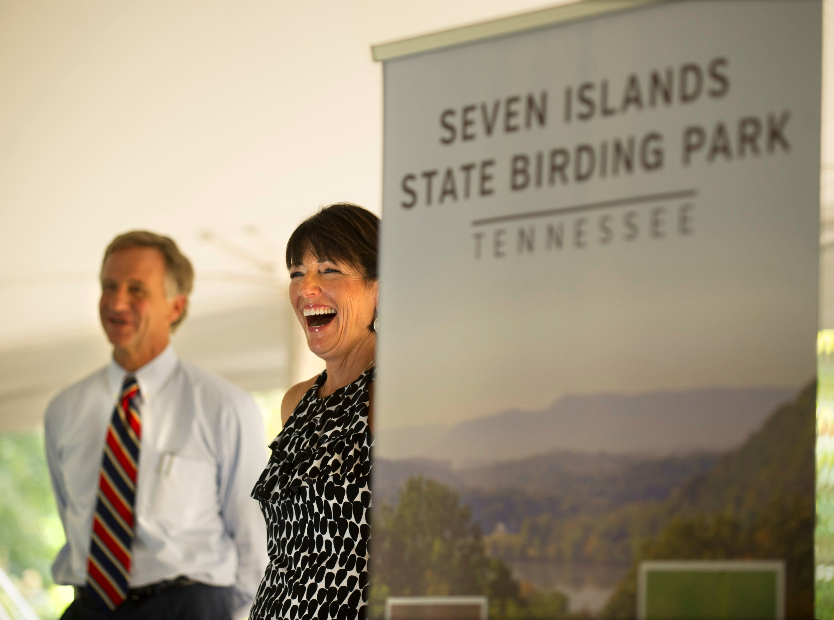 Legacy Parks Foundation Executive Director Carol Evans and Gov. Bill Haslam are all smiles during the 'Legacy Luncheon for the Parks' on Friday, Sept. 20, 2013, at Seven Islands Wildlife Refuge. Haslam announced the 400-acre preserve would soon become Seven Islands State Birding Park.