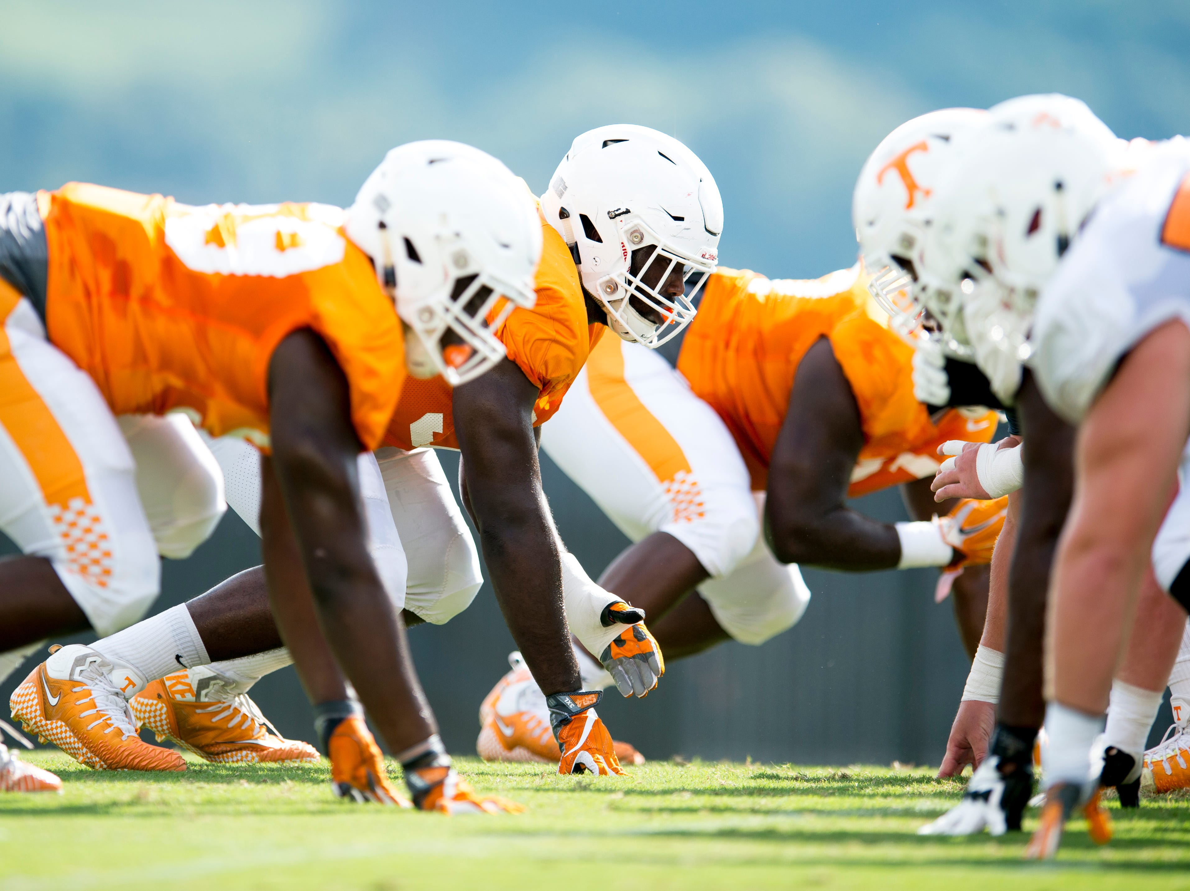 Players line up for a drill during Tennessee fall football practice at Haslam Field in Knoxville, Tennessee on Wednesday, September 12, 2018.