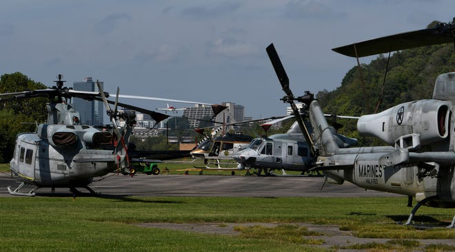 Eight Marine helicopters from Camp Lejeune landed at Island Home Airport yesterday and sit Wednesday, September 12, 2018 waiting out Hurricane Florence.