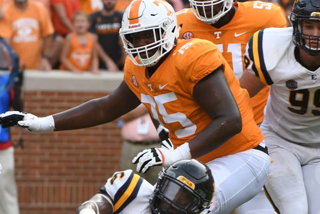 Tennessee offensive lineman Jerome Carvin (75) during a game between Tennessee and ETSU at Neyland Stadium in Knoxville, Tennessee on Saturday, September 8, 2018.
