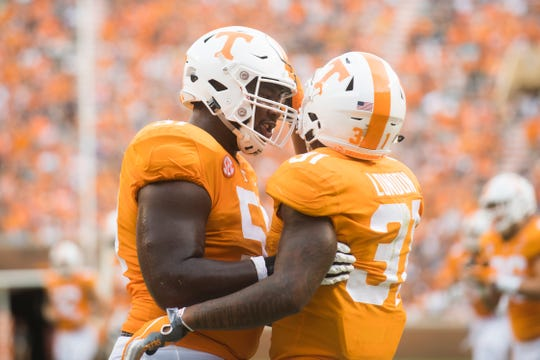 Tennessee offensive lineman Drew Richmond (51) and Tennessee running back Madre London (31) during a game between Tennessee and ETSU at Neyland Stadium in Knoxville, Tennessee on Saturday, September 8, 2018.