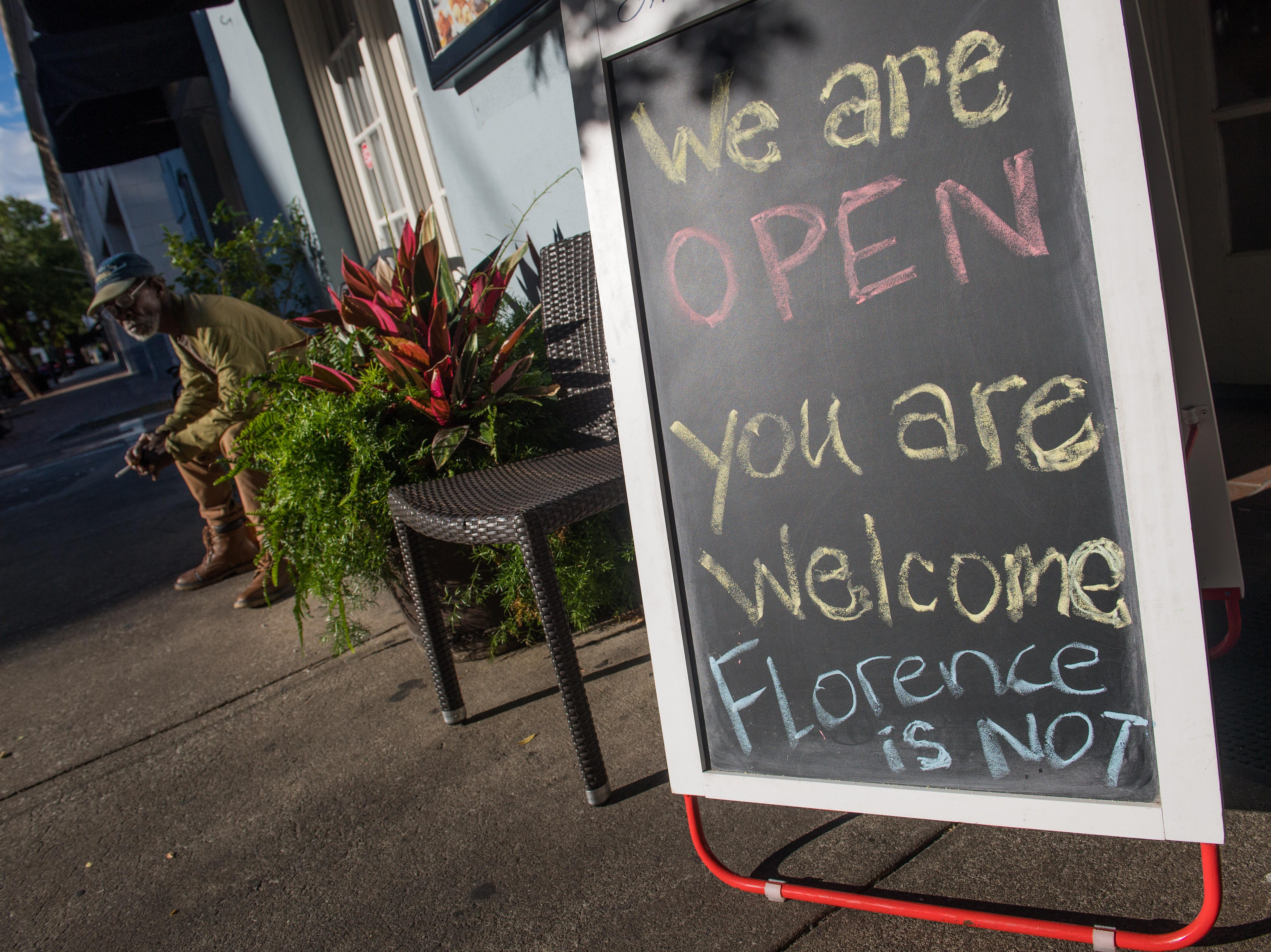Sep 12, 2018; Charleston, SC, USA; The Charleston downtown restaurant Toast open for business one day before Hurricane Florence is expected to make landfall along the East Coast.