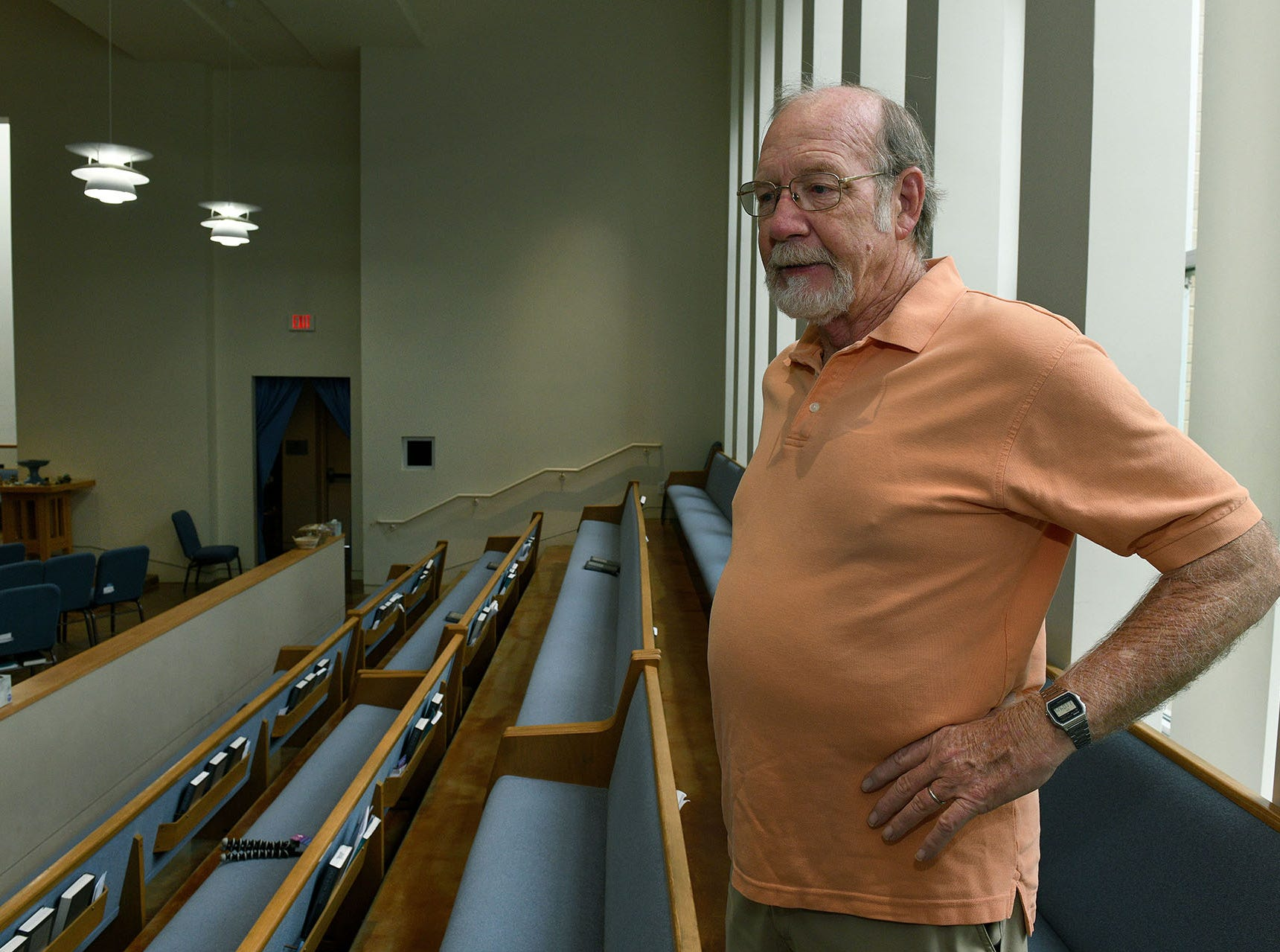 Terry Uselton was one of the people who tackled the shooter a decade ago at the Tennessee Valley Unitarian Universalist Church in Knoxville. Uselton talks in the church sanctuary Wednesday, August 1, 2018 about how his experience has effected him.