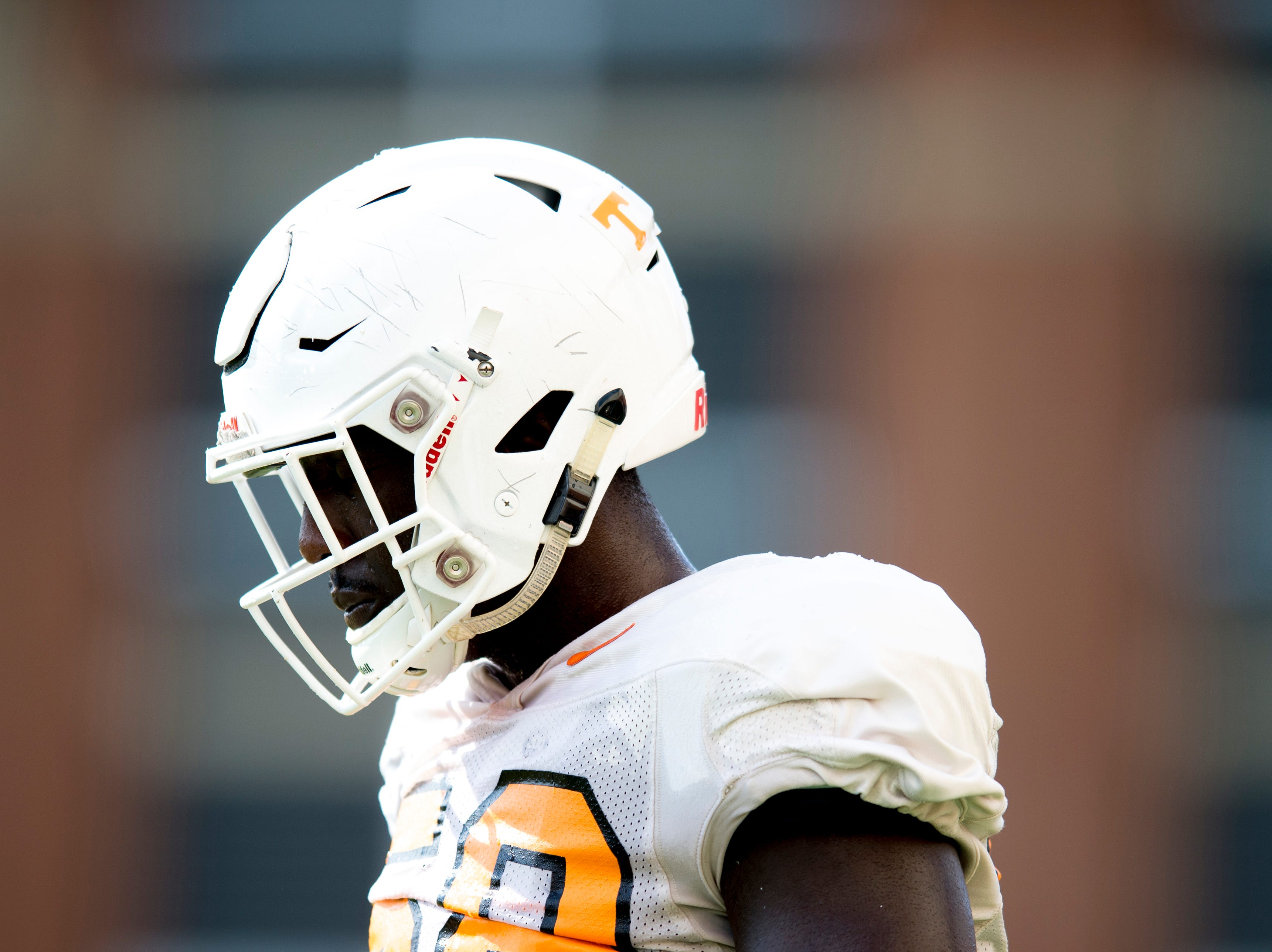 Tennessee offensive lineman Jahmir Johnson (58) during Tennessee fall football practice at Haslam Field in Knoxville, Tennessee on Wednesday, September 12, 2018.