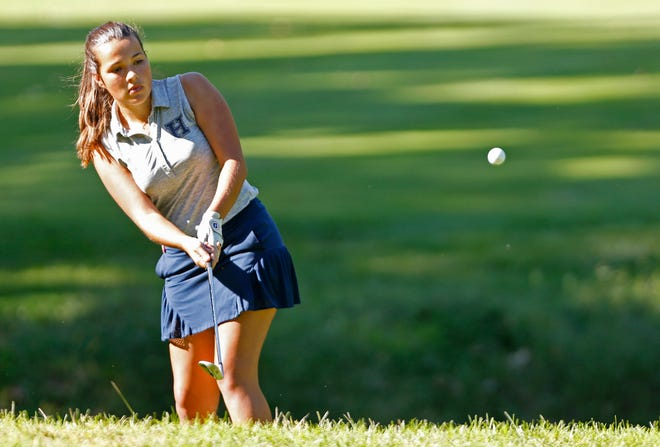Wesley Bradley at No. 1 for Harrison chips onto No. 11 during the second round of the Girls City County golf tournament Wednesday, September 12, 2018, at Coyote Crossing in West Lafayette.