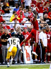 UL receiver Ja'Marcus Bradley, going high here against Grambling in a win earlier this season, leads UL into Saturday's game at Mississippi State, located about half-an-hour from where he grew up in Ackerman.