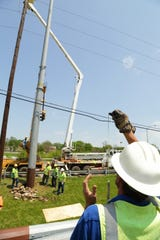 Replacing older, wooden transmission poles with steel poles is part of LG&E and KU's Transmission System Improvement Plan.