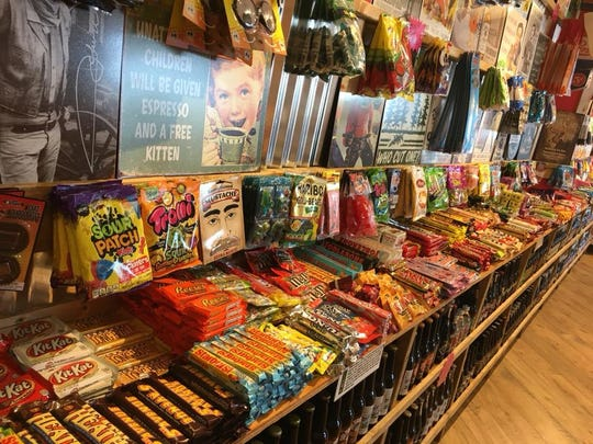 A selection of candies, sodas and posters sold at the Rocket Fizz location in Grand Rapids.