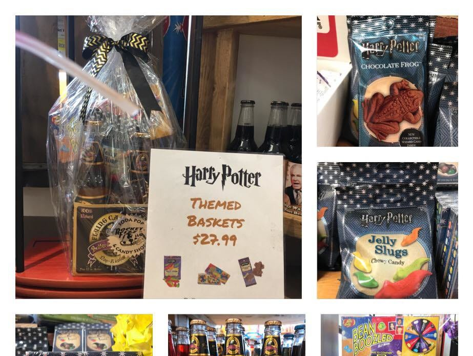 A Harry Potter themed gift basket at the Rocket Fizz Grand Rapids location owned by Mike and Jodi Pitsch.