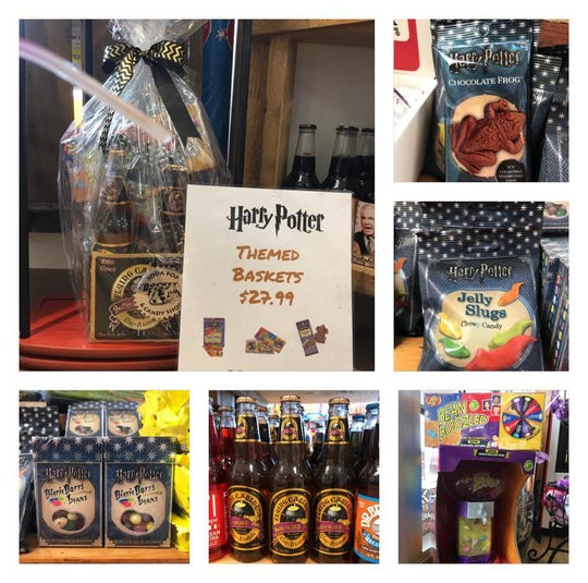 A Harry Potter-themed gift basket at the Rocket Fizz Grand Rapids location owned by Mike and Jodi Pitsch.