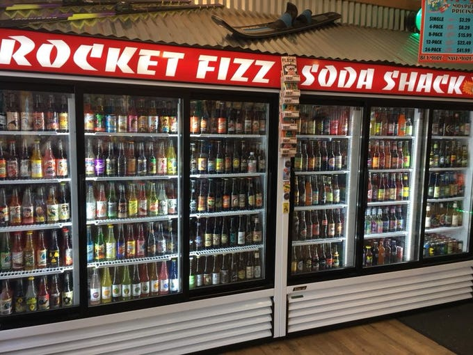 Some of the 500 sodas at the Rocket Fizz owned by Mike and Jodi Pitsch in Grand Rapids.