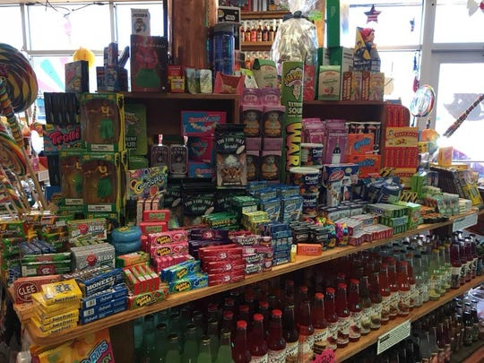 A selection of candies and sodas sold at the Rocket Fizz location in Grand Rapids.