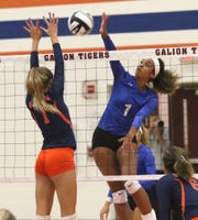 Ontario's Cammy Smith strikes the ball while playing at Galion on Tuesday.
