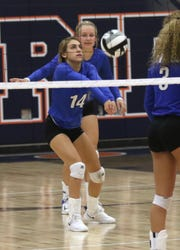 Ontario's Alexa Frankhouse hits the ball while playing at Galion on Tuesday.