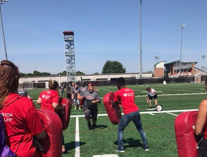 Marion County Special Olympians at the 2018 Special Skills Football Invitational at the Woody Hayes Athletic Center. Ten Marion athletes participated alongside several Ohio State football players.