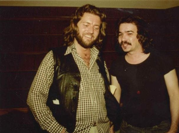 "Knox Phillips and John Prine circa 1979. Phillips was one of the producers of Prine's ""Pink Cadillac"" LP, which was recorded in 1979 at Phillips Recording Service."