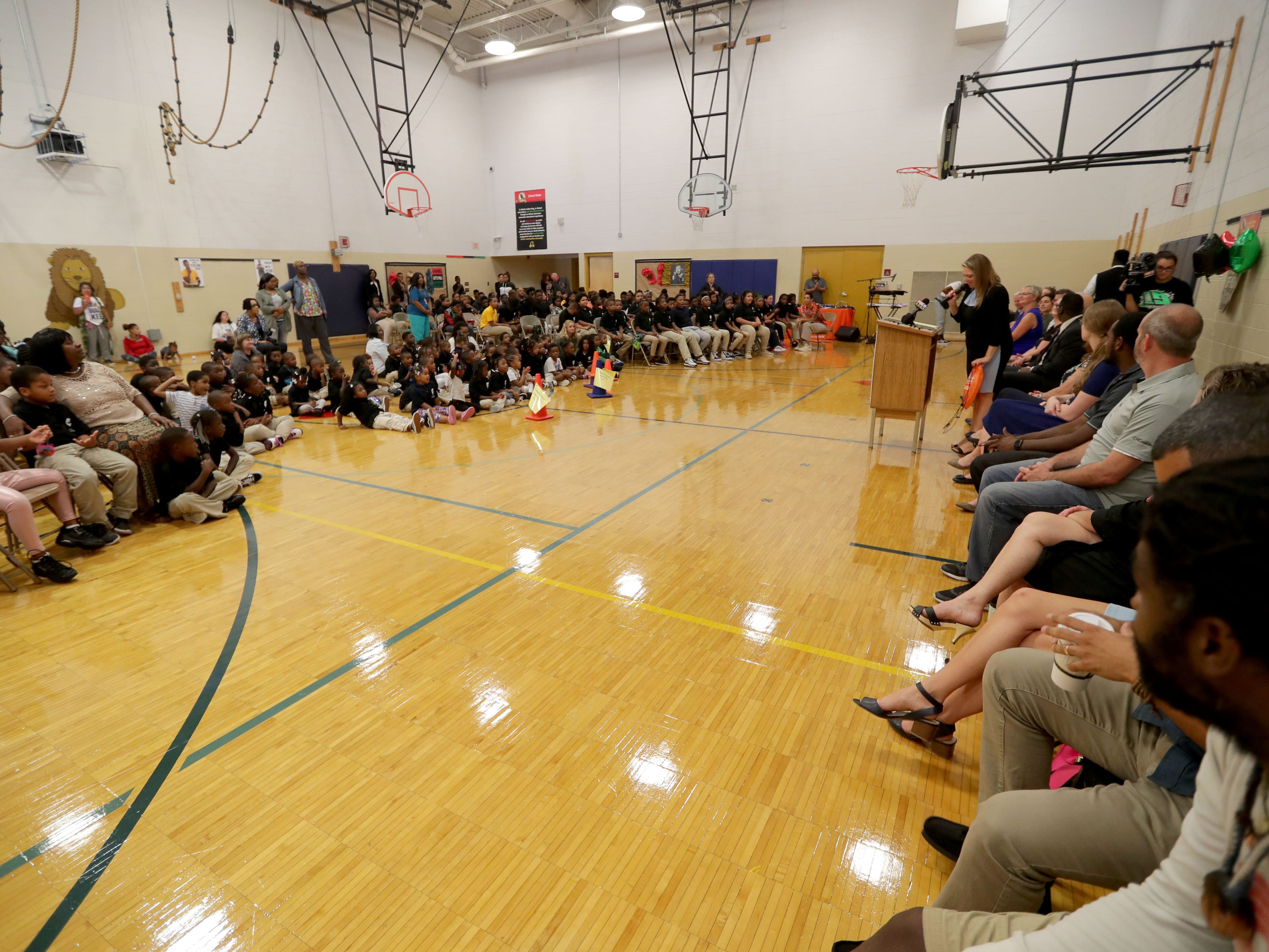Students, teachers, staff and others attend an assembly in the gym at Dr. Martin Luther King Jr. Elementary School  that was part of the third annual No Empty Backpacks School Supplies Drive. Students were getting backpacks and school supplies during the assembly.