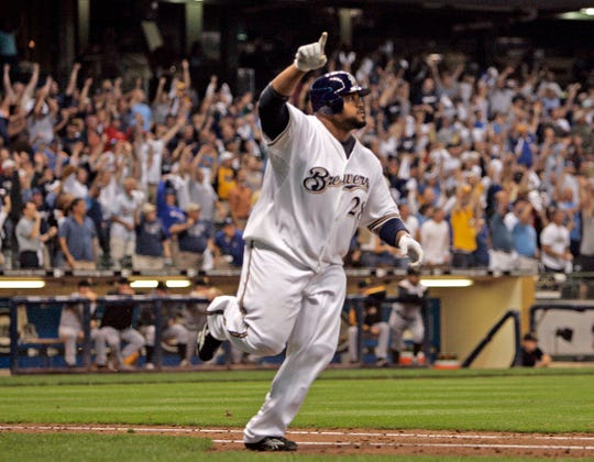 The Brewers' Prince Fielder hits a walk-off home run to beat the Pittsburgh Pirates, 7-5, at Miller Park on Sept. 23, 2008.