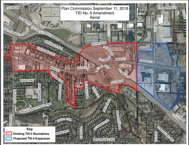 A map shows the proposed expansion of Tax-Increment District 6 in Menomonee Falls. The area in red is the current TID district and the area in blue is the proposed expansion. The expansion is being pursued to accommodate a new business campus.