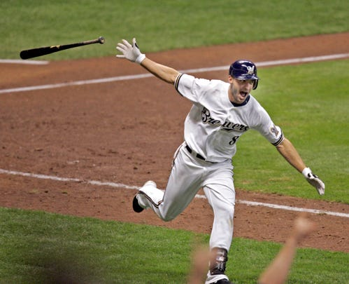 Ryan Braun celebrates after hitting a walk-off grand slam in the 10th inning against the Pittsburgh Pirates at Miller Park on Sept. 25, 2008.