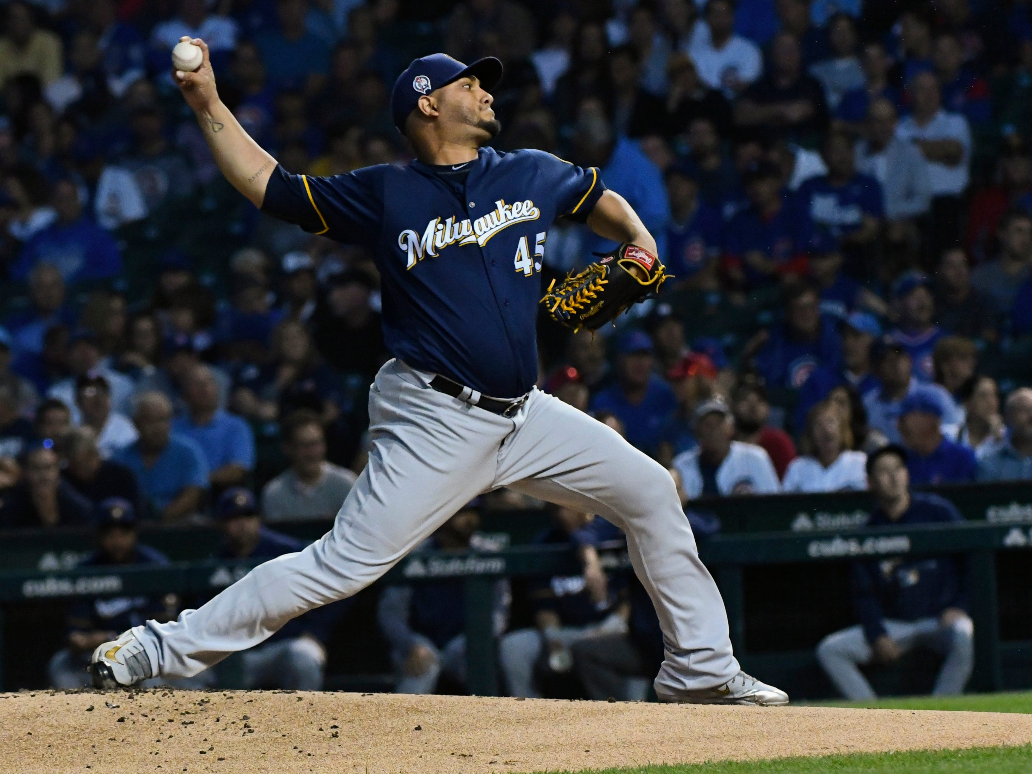 Brewers starting pitcher Jhoulys Chacin gave up just one hit in five innings.
