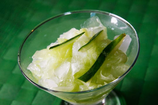 Iced cucumber makes a sweet, crunchy, icy dessert.
