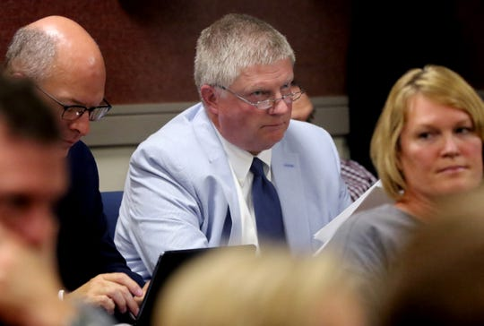 Wauwatosa Police Chief Barry Weber listens to comments on a controversial proposal to consider a resolution on what steps would be taken if Wauwatosa is to consider becoming a sanctuary city. The issue was before Wauwatosa's Government Affairs Committee on Sept. 11.