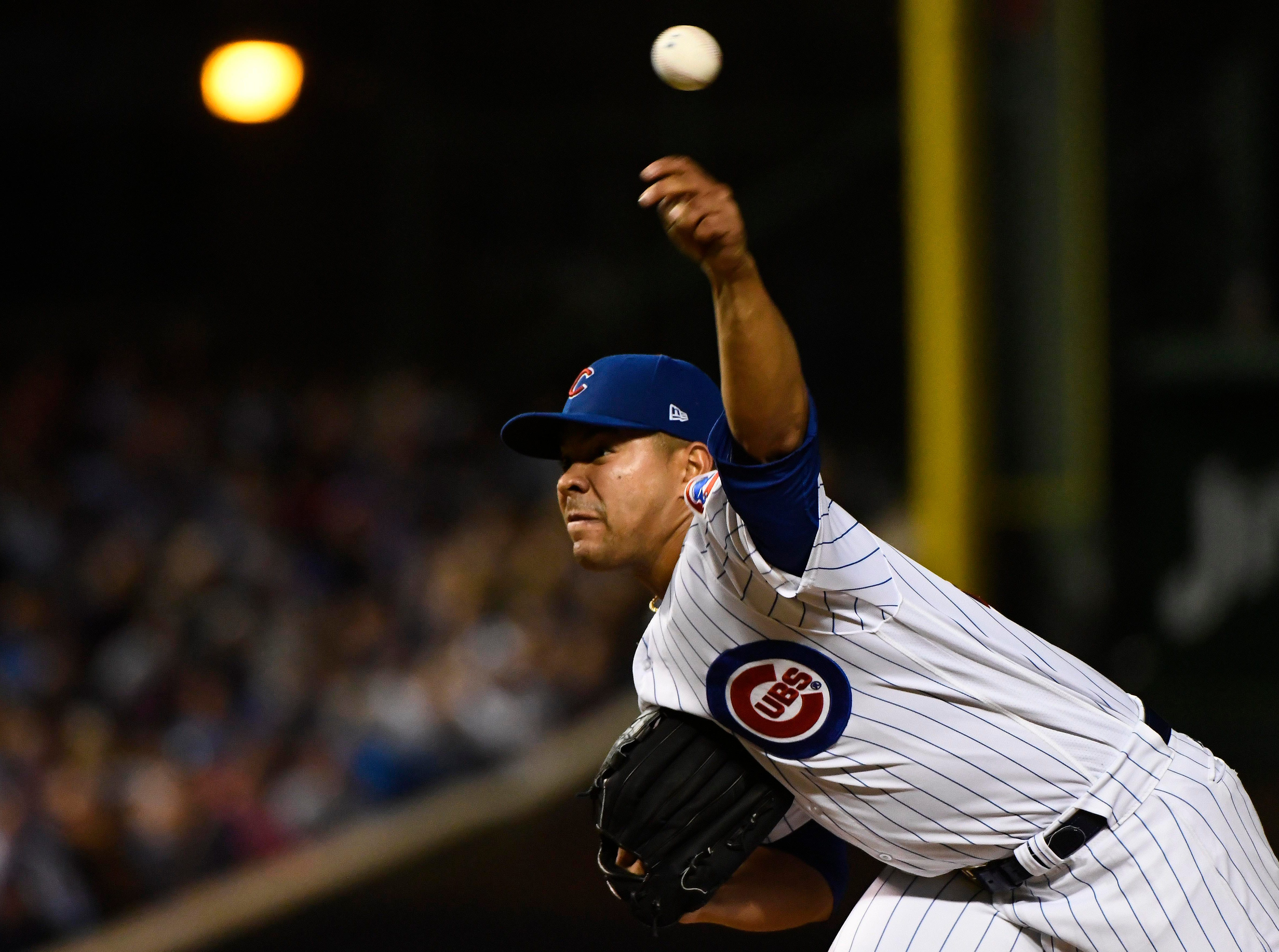 Sep 11, 2018; Chicago, IL, USA; Chicago Cubs starting pitcher Jose Quintana (62) delivers against the Milwaukee Brewers in the sixth inning at Wrigley Field. Mandatory Credit: Matt Marton-USA TODAY Sports