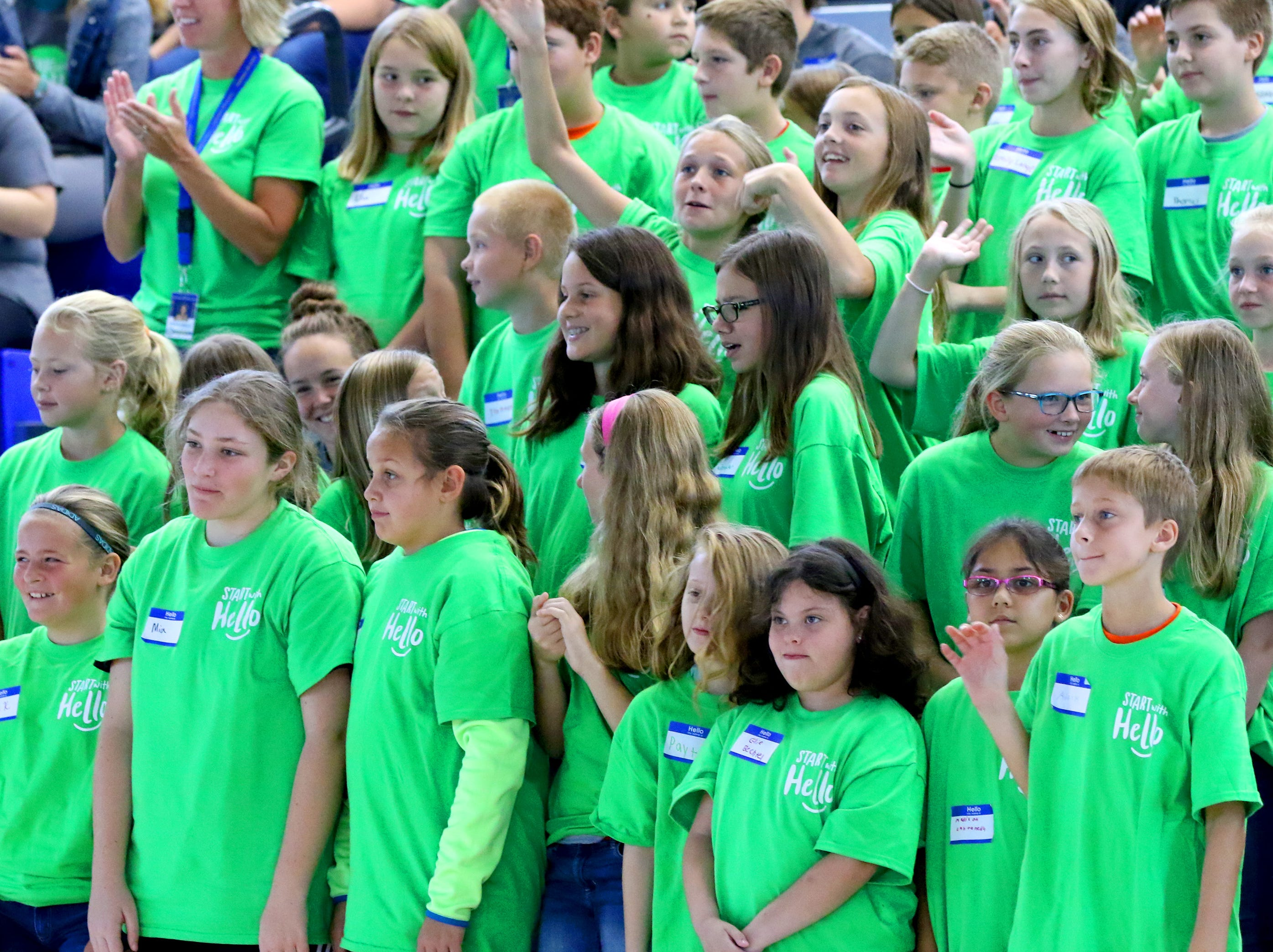 Student from Big Bend Elementary joined Mukwonago High School students during a Sept. 12 all-school assembly to receive the grand prize for the school's Start With Hello program from the Sandy Hook Promise project.