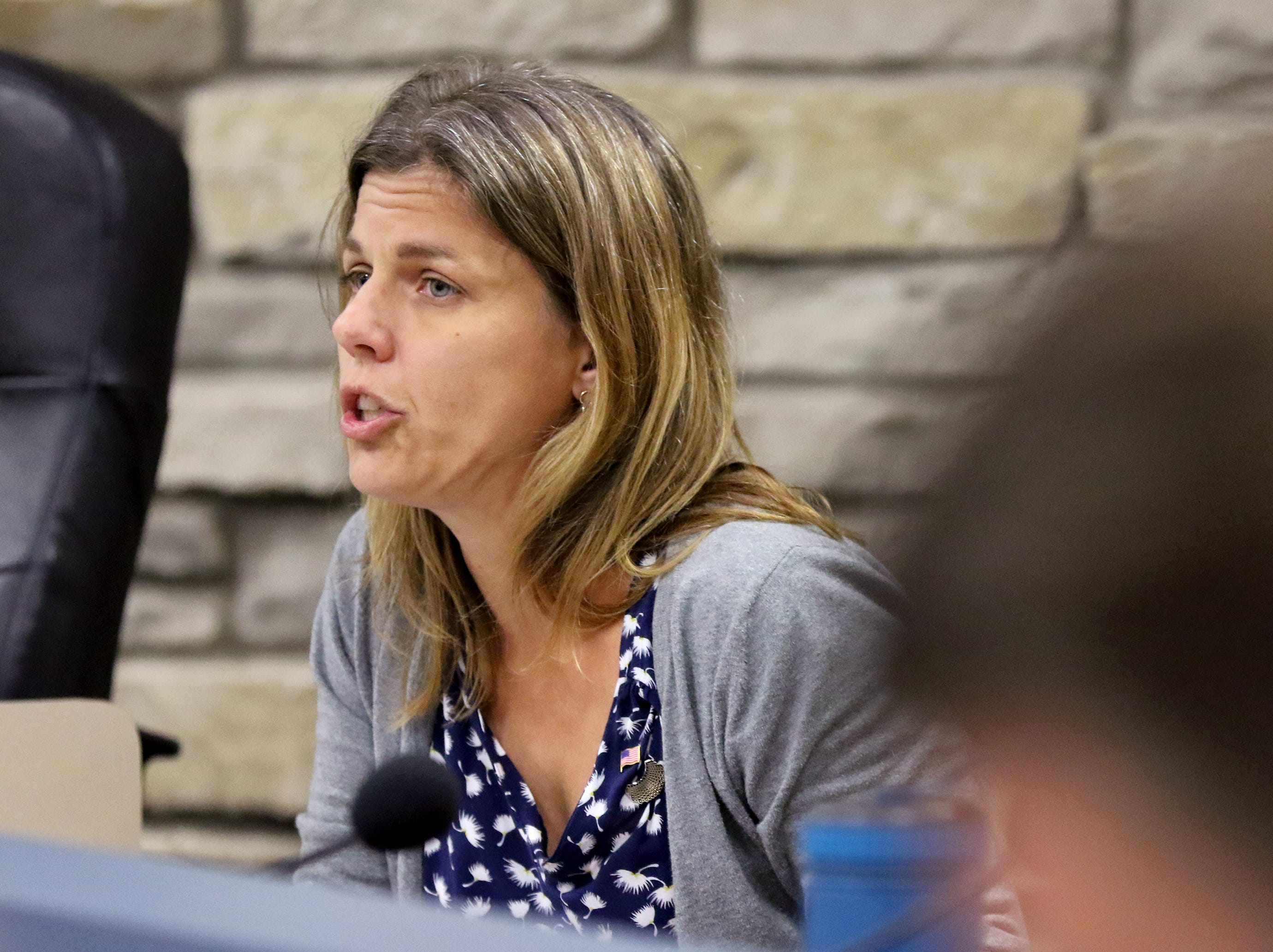 Alderwoman Heather Kuhl outlines her proposal for Wauwatosa to be considered a sanctuary city during Wauwatosa's Government Affairs Committee on Sept. 11.