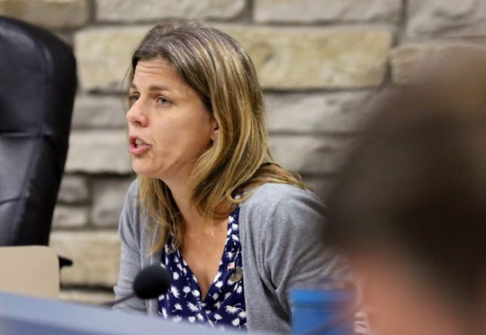 Alderwoman Heather Kuhl outlines a proposal to consider designating Wauwatosa as a safe city during the Wauwatosa's Government Affairs Committee on Sept. 11.