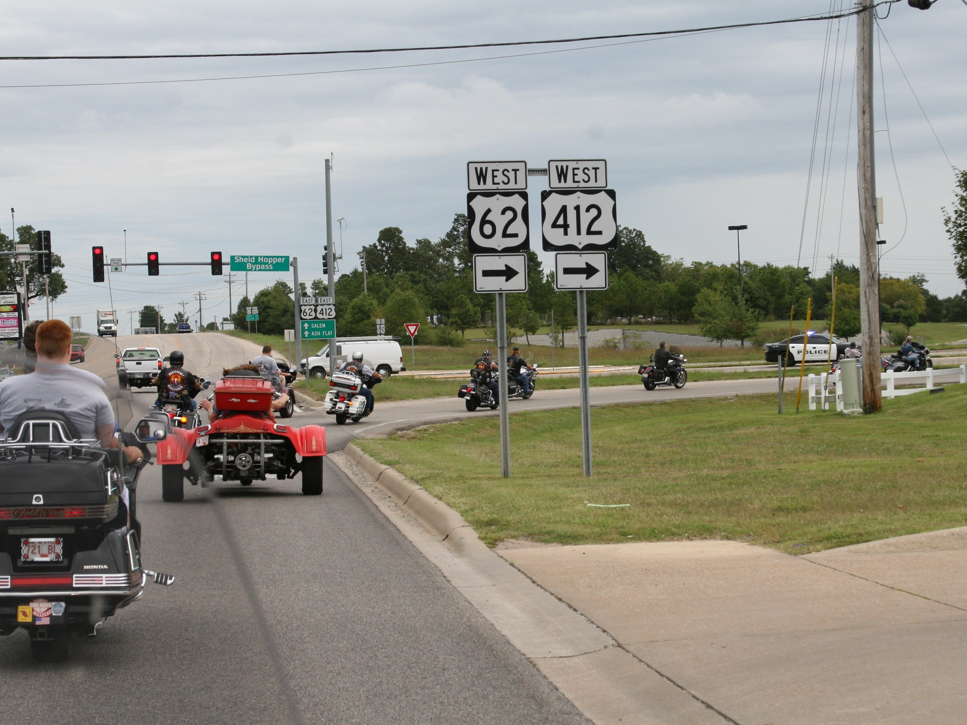 Approximately 30 motorcycles - mostly Harleys, several trikes, a couple of tandem cycles and even a cycle with a sidecar – participated in community ride on Wednesday for 94-year-old Dora Uelmann. Around 40 individual riders made their way along Highway 61/412 East, down the bypass, and back to Elmcroft where the widowed Uelmann resides.
