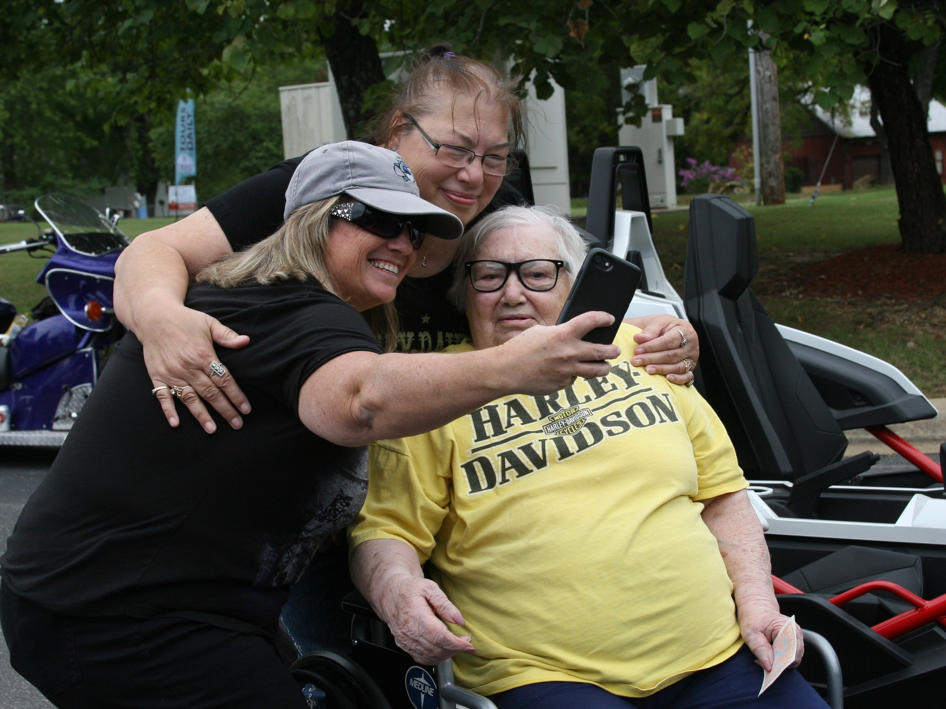 "Friends of 94-year-old Dora Uelmann came out Wednesday afternoon as part of a community ride for the self-described ""Harley Woman."""
