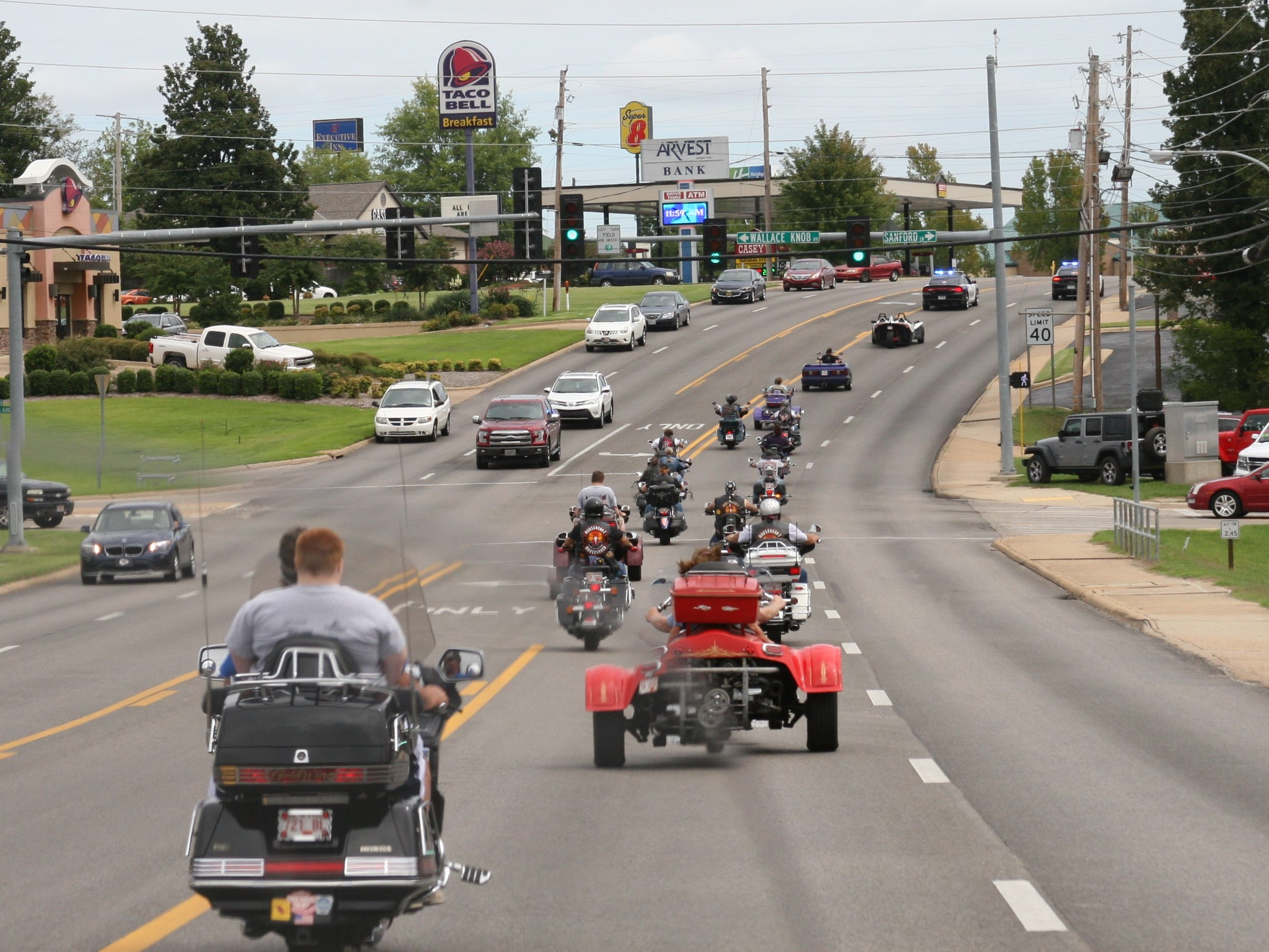 Riders came from several area clubs on Wednesday, such as Three Rivers Biker Church in Gamaliel, Mooseheart, the American Legion of Cotter, and Brother All the Dirt, along with other individual riders to participate in a community ride to support 94-year-old Dora Uelmann.