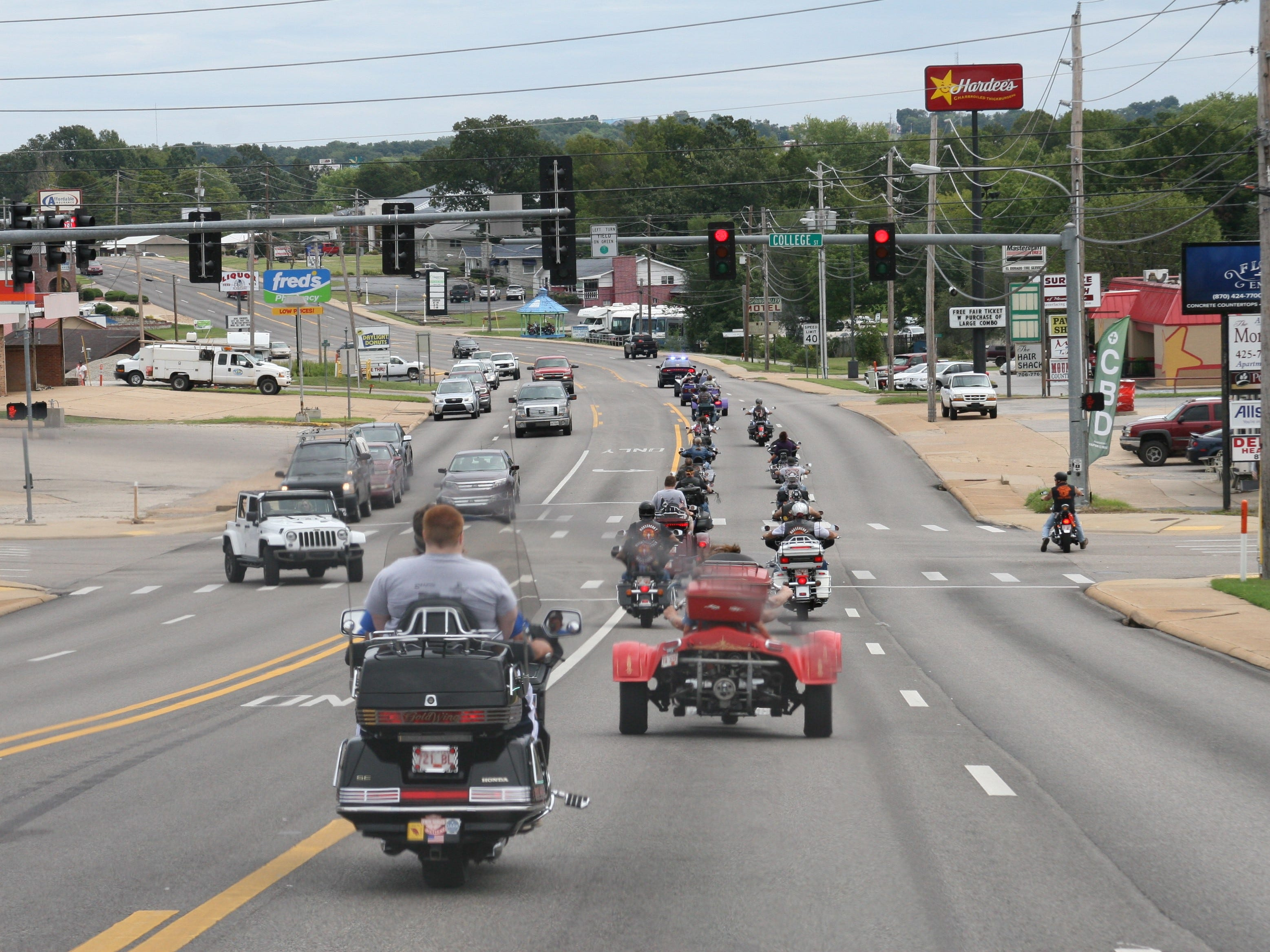 Approximately 30 motorcycles -- mostly Harleys, several trikes, a couple of tandem cycles and even a cycle with a sidecar – participated in community ride on Wednesday for 94-year-old Dora Uelmann. Around 40 individual riders and others with club affiliations received a police escort through town as part of a dream-filling event for Uelmann.