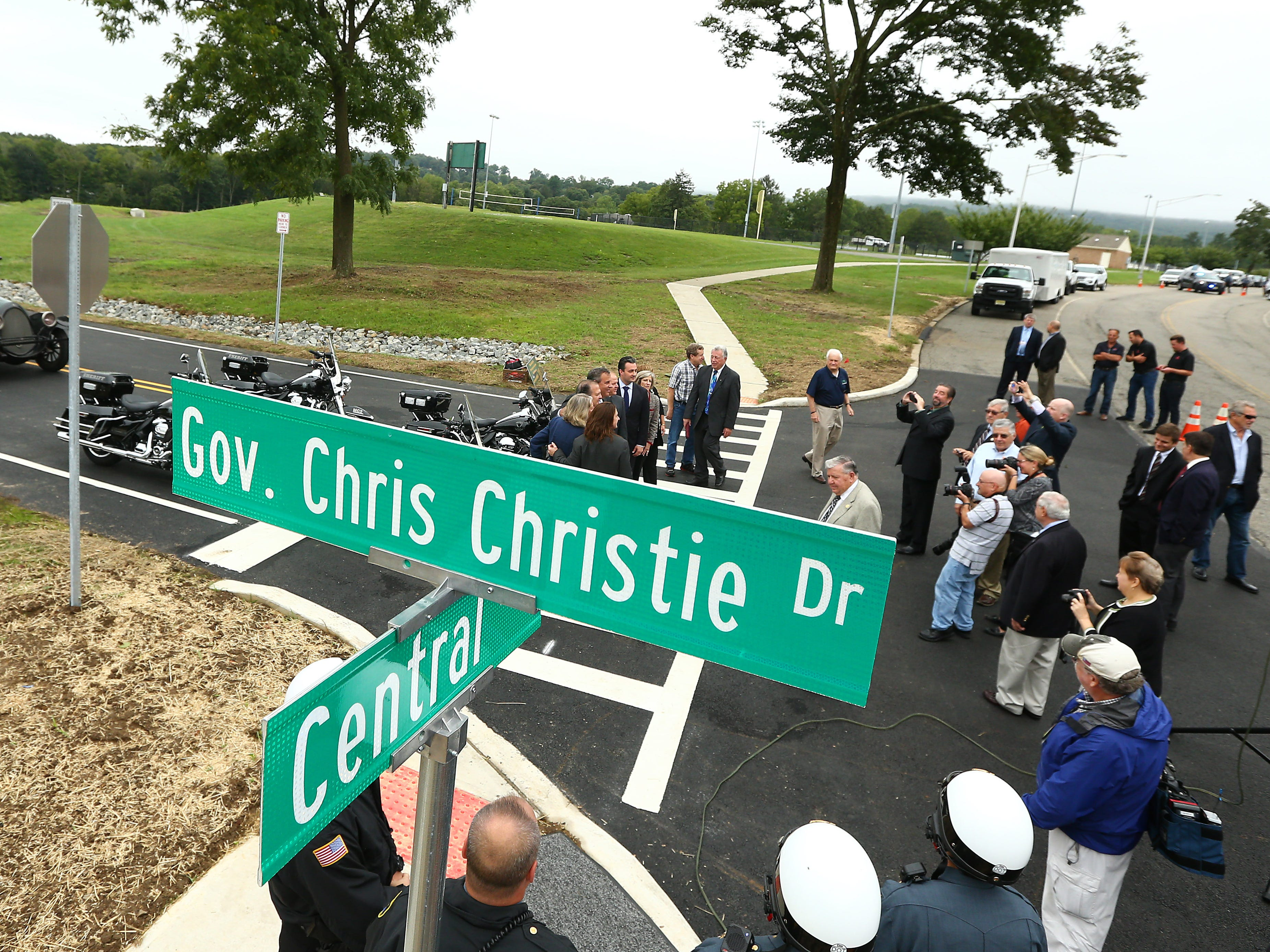 Morris County freeholders formally open Gov. Chris Christie Drive, a new main access road to Central Park of Morris County. September 12, 2018, Morris Plains, NJ