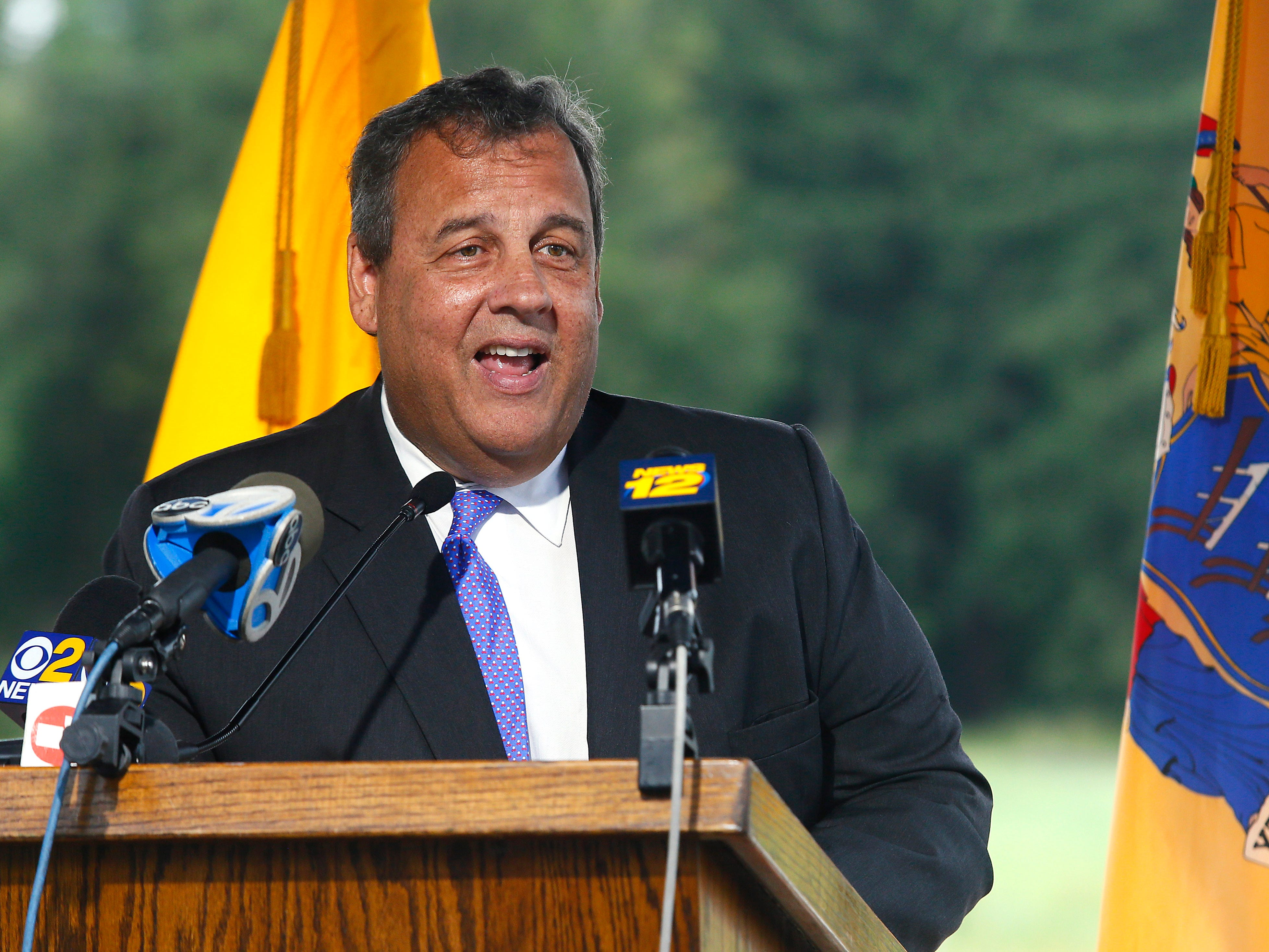 In this Sept. 12, 2018 photo, former New Jersey Gov. Chris Christie speaks at the opening of Gov. Chris Christie Drive, a new main access road in Morris Plains, NJ.