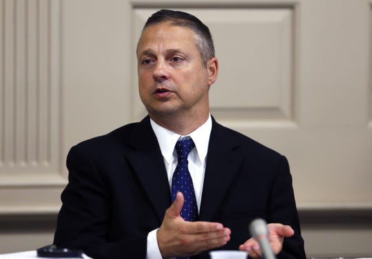 James Carifi, a retired Parsippany police captain answers questions during direct testimony in Morris County court.  Carifi is suing the township alleging under the state's whistleblower law, that he reported wrongdoing to superiors and found himself the target of internal affairs investigations in retaliation. September 21, 2017, Morristown, NJ