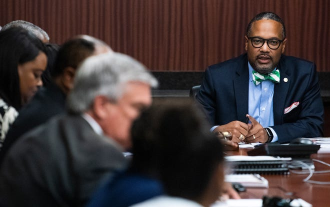 "Rep. Napoleon Bracy, D-Prichard, pictured at an Alabama State University board meeting, said he was against the bill preventing new occupational taxes, mentioning ""Big Brother,"" a symbol of a totalitarian state in George Orwell's ""1984."""