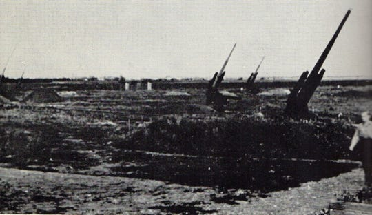 A battery of German 88mm anti-aircraft around the Ploesti oil refineries complex, which took their toll on the attacking American B-24 Liberators during the August 1, 1943, attack. By August 1943, the Ploesti complex was the second most heavily defended target in Occupied Europe.