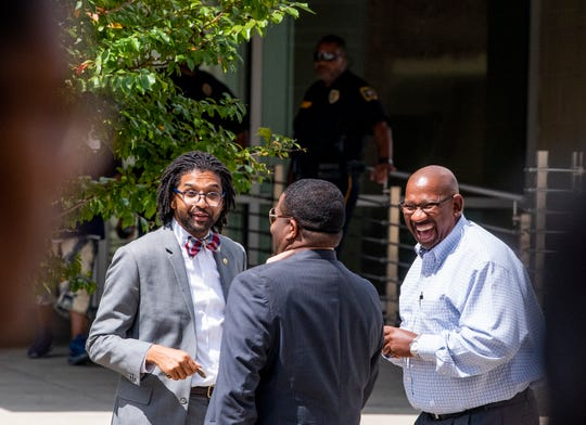 Alabama State University Vice President for Student Affairs Rolundus Rice, left, on the ASU campus in Montgomery, Ala., on Wednesday September 12, 2018.