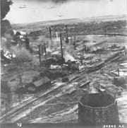 One of the nine oil refineries in the Ploesti, Romania, complex after the American attack on August 1, 1943. These refineries provided 90 percent of Romania's oil, 60 percent of Germany's wartime needs.