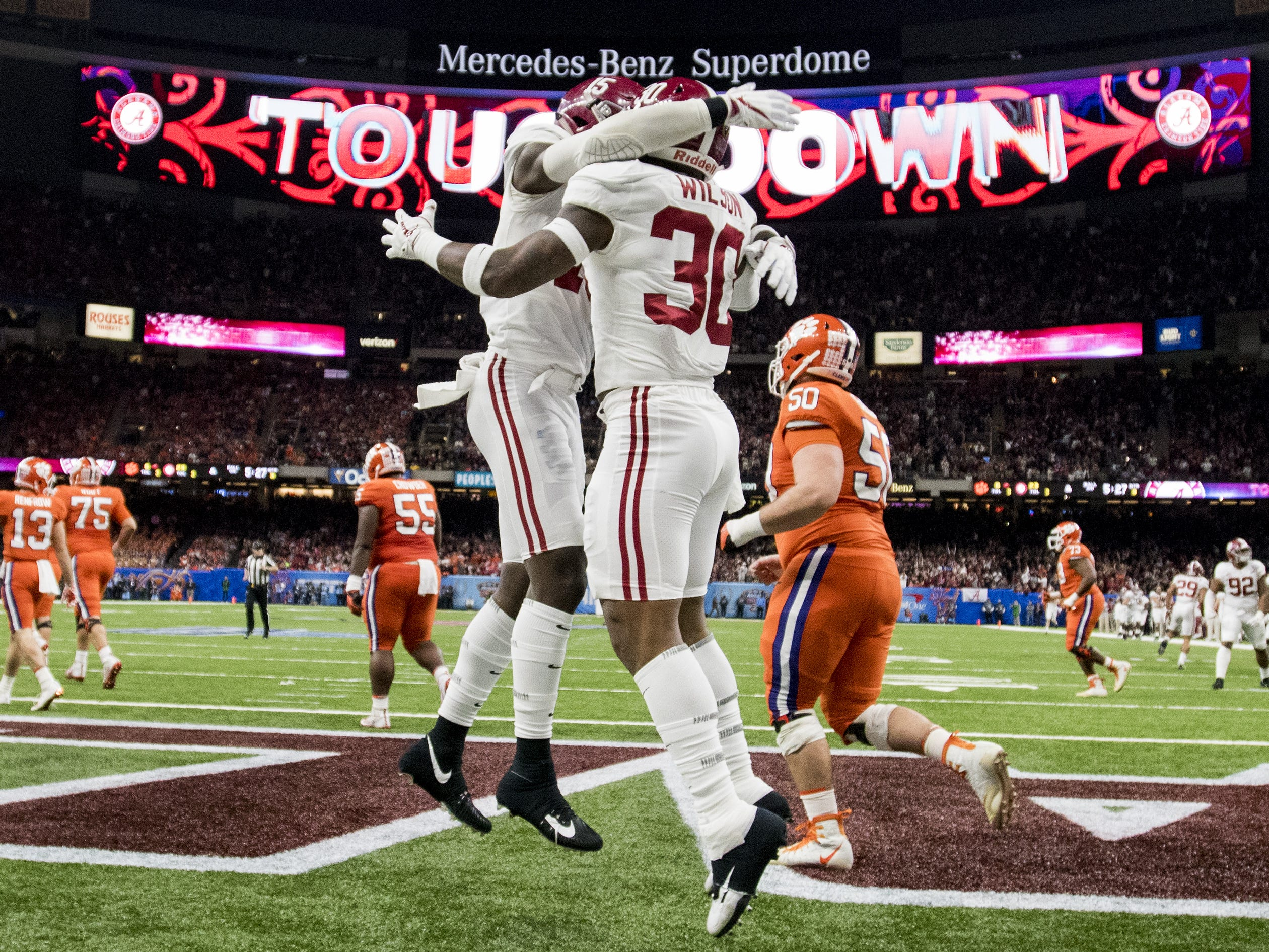 Alabama linebacker Mack Wilson (30) celebrates his interception touchdown against Clemson in the Sugar Bowl at the Superdome in New Orleans, La. on Monday January 1, 2018. (Mickey Welsh / Montgomery Advertiser)