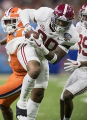 Alabama linebacker Mack Wilson (30) intercepts a pass from Clemson and returnd it for a touchdown in the Sugar Bowl at the Superdome in New Orleans, La. on Monday January 1, 2018. (Mickey Welsh / Montgomery Advertiser)