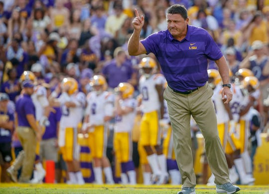 LSU head coach Ed Orgeron before a game against Southeastern Louisiana at Tiger Stadium on Sept. 8, 2018, in Baton Rouge, La.
