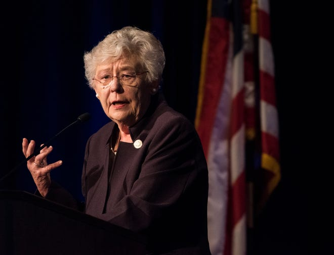 Gov. Kay Ivey speaks during the Public Retiree Convention at Renaissance Hotel in Montgomery, Ala., on Wednesday, Sept. 12, 2018.